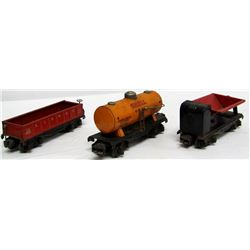 PRE-WAR LIONEL LINES TRAIN CARS - 3 TOTAL - METAL