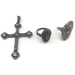 2-ANTIQUE STERLING RINGS & (1)CROSS PENDANT