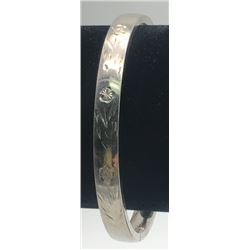 CROWN STERLING BANGLE WITH FLOWER
