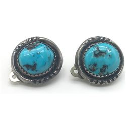 PAIR OF NAVAJO STERLING EARRINGS WITH