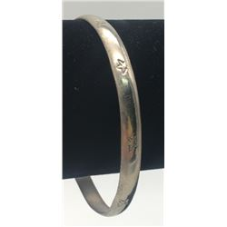 MEXICO STERLING BANGLE WITH STAR ENGRAVINGS