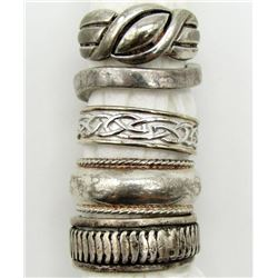 5-ANTIQUE STERLING RINGS WITH DIFFERENT