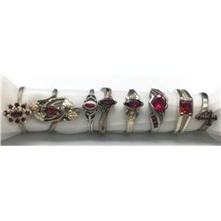 8-ANTIQUE STERLING RINGS WITH DEEP RED STONE