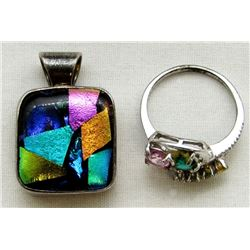 STERLING PENDANT WITH MULTI COLORED DESIGN