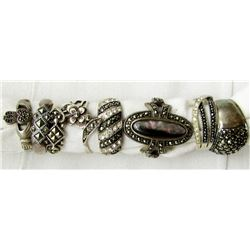 8-ANTIQUE STERLING WITH WITH CRYSTAL STONE