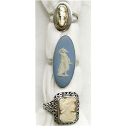 3-ANTIQUE STERLING CAMEO RINGS