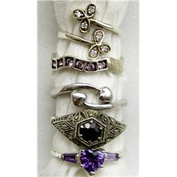 5-STERLING RINGS WITH MULTI COLORED STONE