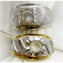2-MEN'S RINGS WITH CLEAR STONE ACCENTS