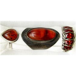 3-STERLING RINGS WITH DEEP RED AND BURNT AMBER
