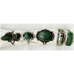 5-STERLING RINGS WITH GREEN TURQUOISE AND
