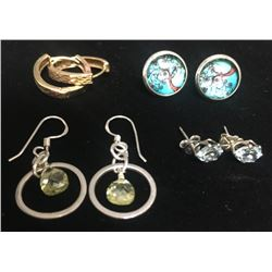 4-PAIRS OF STELRING EARRINGS DIFF DESIGNS!