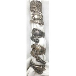 5-ANTIQUE STERLING SPOON RINGS