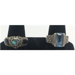 2-STERLING RINGS WITH BLUE STONE ACCENTS