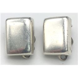 PAIR OF MEXICO STERLING RECTANGLE EARRINGS