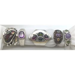 5-STERLING RINGS ALL WITH DIFF DESIGNS/STONES