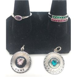 3-BIRTHSTONE RINGS AND (2)BIRTHSTONE PENDANTS