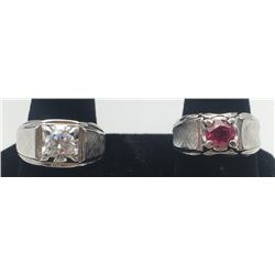 2-STERLING MEN'S RINGS WITH CLEAR/RED STONE