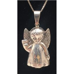 STERLING NECKLACE WITH ANGEL PENDANT MARKED!