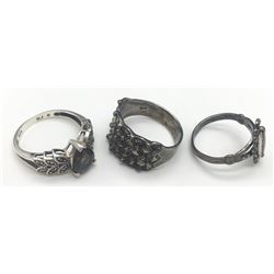 3-STERLING RINGS ALL WITH DIFF DESIGNS