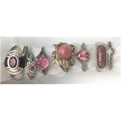 7-STERLING RINGS WITH PINK/RED STONE ACCENTS