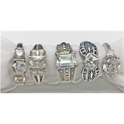 5-BLING RINGS WITH CZ/CLEAR STONE ACCENTS