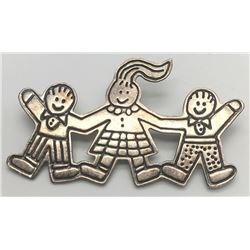 MEXICO STERLING CHILDREN BROOCH MARKED!