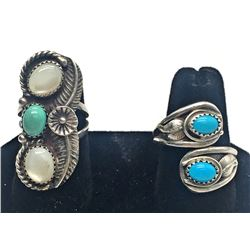 2-NAVAJO STERLING RINGS WITH TURQUOISE