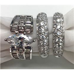 3-STERLING BLING RINGS WITH CZ/CLEAR STONE