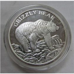 TWO TROY OUNCES .999 FINE SILVER - GRIZZLY BEAR