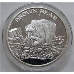 TWO TROY OUNCES .999 FINE SILVER -BROWN BEAR
