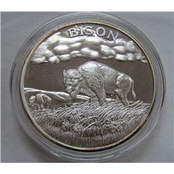 TWO TROY OUNCES .999 FINE SILVER -BISON