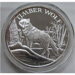 TWO TROY OUNCES .999 FINE SILVER - TIMBER WOLF