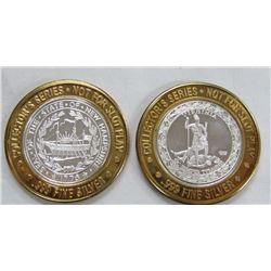 2-$10 GAMING CASINO TOKENS SILVER .999