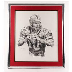 """Steve Bartkowski 25.5""""x29.5"""" Custom Framed Drawing"""