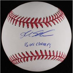 """Kyle Schwarber Signed OML Baseball Inscribed """"16 WS Champs"""" (MLB Hologram)"""