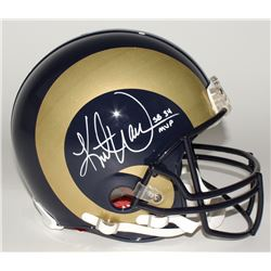 Kurt Warner Signed Rams Full-Size Helmet Inscribed  SB 34 MVP  (JSA COA)