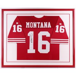 Joe Montana Signed 49ers 32x39 Custom Framed Jersey (JSA ALOA)