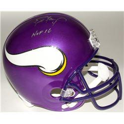 """Brett Favre Signed Vikings Full-Size Helmet Inscribed """"HOF 16"""" (Radtke COA)"""