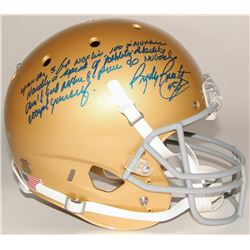 """Rudy Ruettiger Signed Full-Size Notre Dame Fighting Irish Helmet with """"Five Foot Nothing"""" Extensive"""