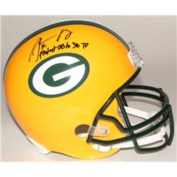 """Aaron Rodgers Signed Packers Full-Size Helmet Inscribed """"Fastest QB to 300 TD"""" (Steiner Hologram)"""