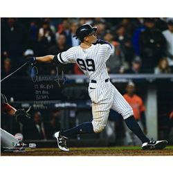 "Aaron Judge Signed Yankees 16x20 Photo Inscribed ""2017 AL ROY"", "".284"", ""114 RBI's"", ""52 HR'S""  ""127"