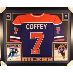 Paul Coffey Signed Oilers 35x43 Custom Framed Jersey Display (JSA COA)
