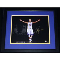 """Stephen Curry Signed Warriors 16x20 Limited Edition Custom Framed Photo Inscribed """"73-9"""" (Fanatics H"""