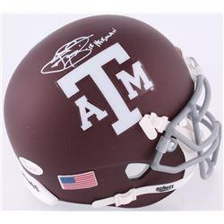 "Johnny Manziel Signed Texas AM Custom Matte Maroon Mini-Helmet Inscribed ""12 Heisman"" (JSA COA)"