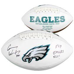 """Carson Wentz Signed Eagles Logo Football Inscribed """"AO1""""  """"Fly Eagles Fly!"""" (Fanatics Hologram)"""
