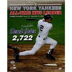 "Derek Jeter Signed Yankees ""All Time Hits Leader"" 16x20 Photo (Steiner COA)"