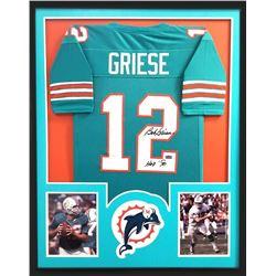 """Bob Griese Signed Dolphins 34x42 Custom Framed Jersey Inscribed """"HOF 90"""" (Radtke COA)"""