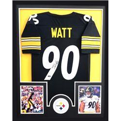T.J. Watt Signed Steelers 34x42 Custom Framed Jersey (Radtke COA)