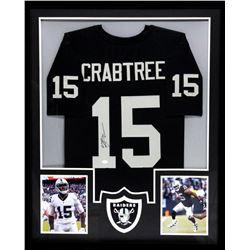 Michael Crabtree Signed Raiders 34x42 Custom Framed Jersey (JSA COA)
