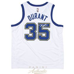 Kevin Durant Signed Warriors Throwback Jersey (Panini COA)